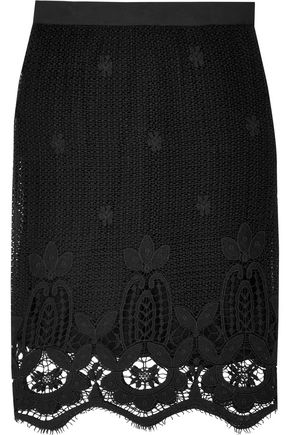 MIGUELINA Scarlett cotton macramé lace midi skirt