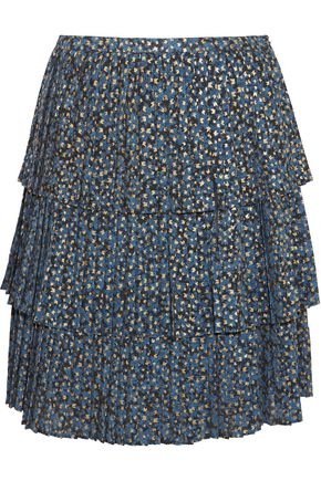 MICHAEL MICHAEL KORS Tiered metallic printed georgette skirt