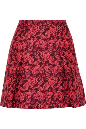 ERDEM Calista pleated neon floral-jacquard mini skirt