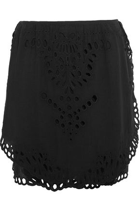 IRO Layered broderie anglaise-trimmed gauze mini skirt