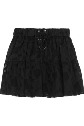 IRO Carmel lace-up chiffon and tulle mini skirt