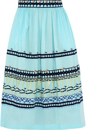 TEMPERLEY LONDON Amity embroidered cotton midi skirt