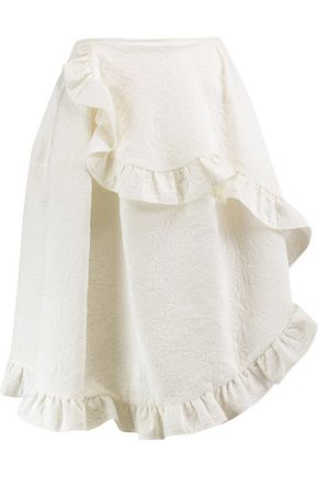 SIMONE ROCHA Ruffle-trimmed embroidered cotton-blend skirt