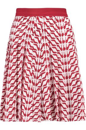 REDValentino Pleated printed silk-crepe mini skirt