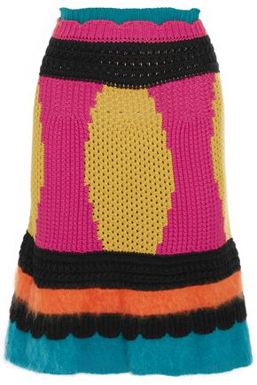 REDValentino Paneled intarsia cotton-blend skirt
