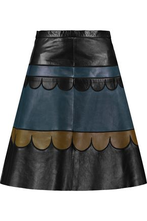 REDValentino Paneled leather skirt