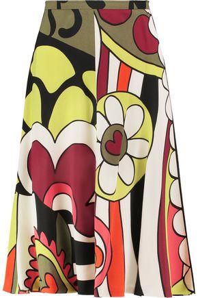 REDValentino Printed crepe midi skirt