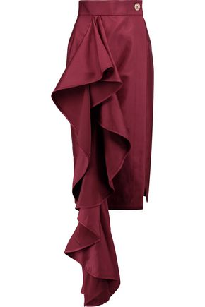 SOLACE LONDON Aideen ruffled satin skirt