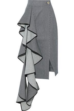 SOLACE LONDON Aideen ruffled striped denim midi skirt