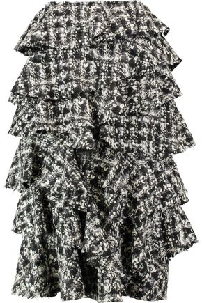 LANVIN Ruffled bouclé wool skirt
