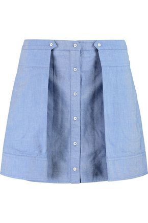 T by ALEXANDER WANG Pleated cotton-chambray mini skirt