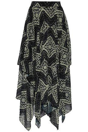 ALICE+OLIVIA Ryley asymmetric printed chiffon maxi skirt