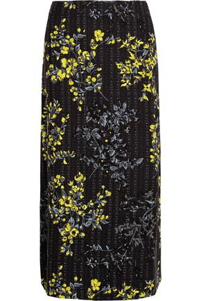 MARNI Floral-print cotton, wool and silk-blend skirt