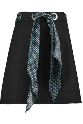MICHAEL KORS COLLECTION Belted stretch-cotton crepe mini skirt