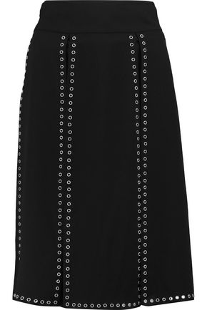 MICHAEL KORS COLLECTION Eyelet-embellished crepe midi skirt