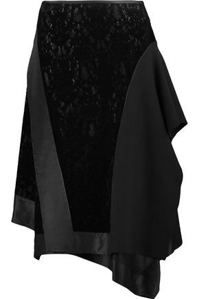 DKNY Wrap-effect stretch-jersey and lace midi skirt