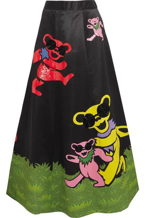ALICE + OLIVIA Embellished satin maxi skirt