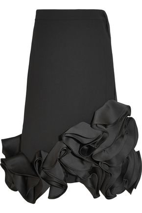 VICTORIA, VICTORIA BECKHAM Ruffled duchesse-satin and crepe skirt