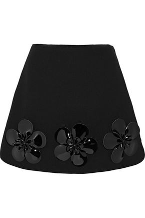 VICTORIA, VICTORIA BECKHAM Floral-appliquéd wool mini skirt
