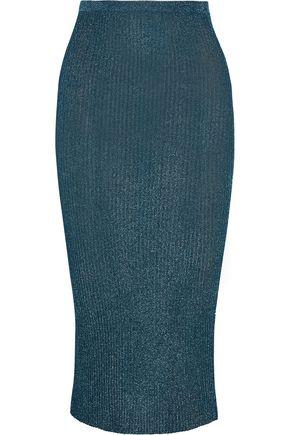 TIBI Ribbed metallic stretch-knit midi skirt