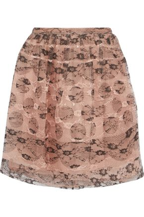 REDValentino Layered lace and silk-organza mini skirt