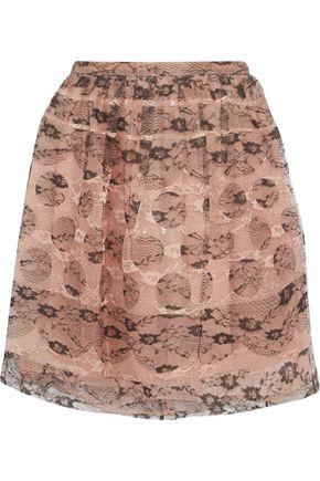 REDValentino Layered lace and silk-organza mini skirt