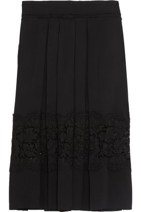 LANVIN Cotton-blend corded lace-paneled pleated twill skirt