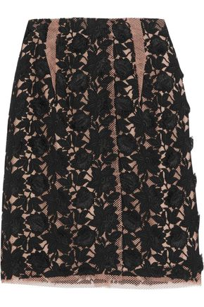 LANVIN Paneled embroidered cotton-blend mesh skirt