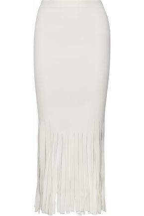 ALEXANDER WANG Fringed stretch-knit midi skirt