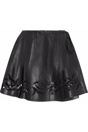 ALEXANDER WANG Cutout embroidered leather mini wrap skirt