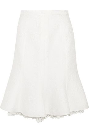 OSCAR DE LA RENTA Fluted lace-trimmed cotton-blend cloqué skirt