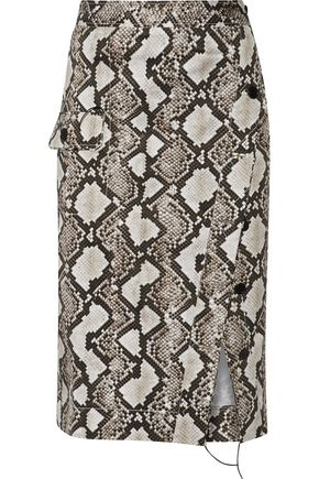 ALTUZARRA Curry snake-print stretch-cotton skirt
