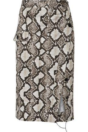 ALTUZARRA Curry snake-print stretch-cotton skirt