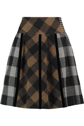 ETRO Gemma velvet-trimmed wool-blend skirt