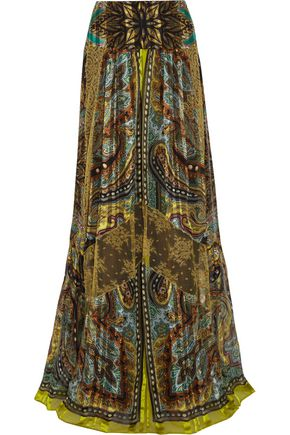 ETRO Lace-paneled printed silk maxi skirt