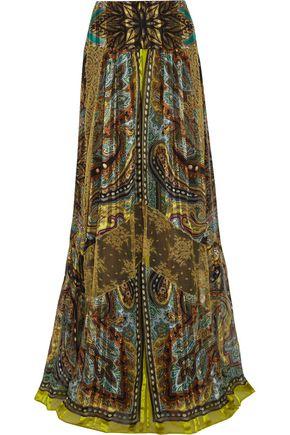 ETRO Lace-paneled printed silk maxi skirt