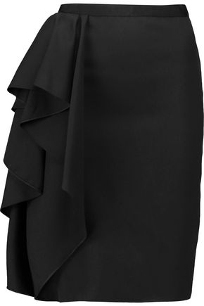 LANVIN Ruffled wool-twill skirt