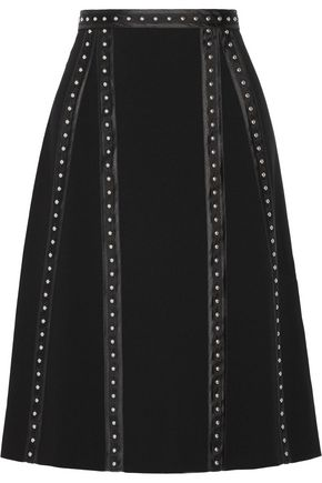 ALTUZARRA Steele studded satin-trimmed crepe skirt