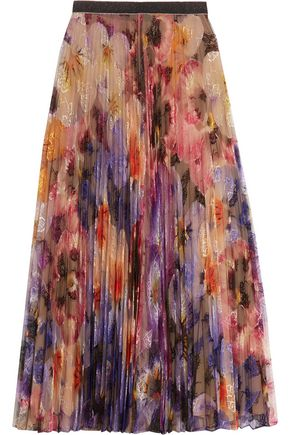 CHRISTOPHER KANE Pleated printed lace midi skirt