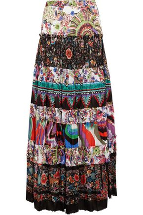 ROBERTO CAVALLI Tiered printed cotton-voile maxi skirt