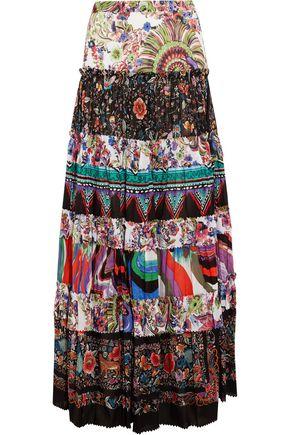ROBERTO CAVALLI Tiered printed cotton-voile maxi skirt