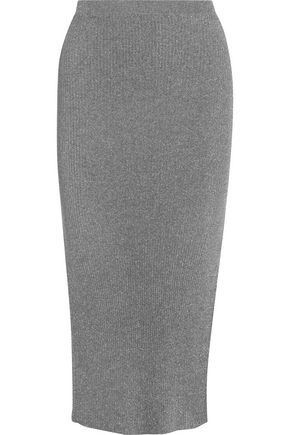 MUGLER Metallic ribbed stretch-knit midi skirt