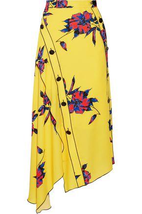PROENZA SCHOULER Asymmetric floral-print silk-crepe wrap skirt