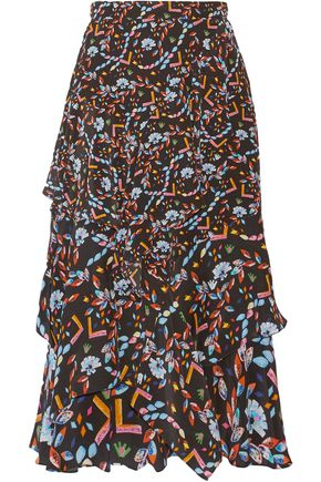 PETER PILOTTO Ruffled printed silk midi skirt