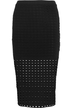 T by ALEXANDER WANG Laser-cut stretch-jersey skirt