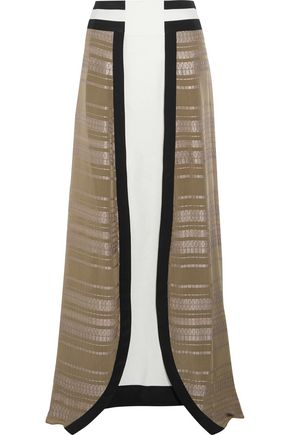 ZEUS + DIONE Lotus silk-jacquard and silk-crepe maxi skirt