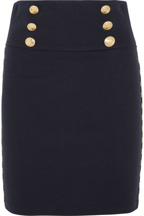 PIERRE BALMAIN Chain-embellished cotton-blend twill mini skirt