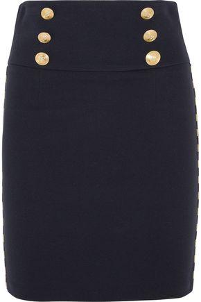 PIERRE BALMAIN Chain-embellished cotton-blend twill mini skirt