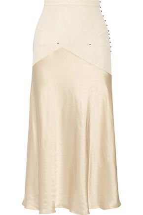 ESTEBAN CORTAZAR Paneled stretch-knit and satin midi skirt