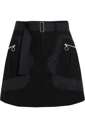 TIM COPPENS Shell and wool and cotton-blend twill mini skirt